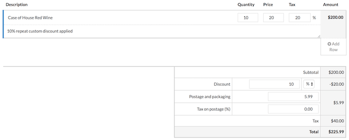 Manage Tax, Discounts, Postage and Packaging on your Invoices