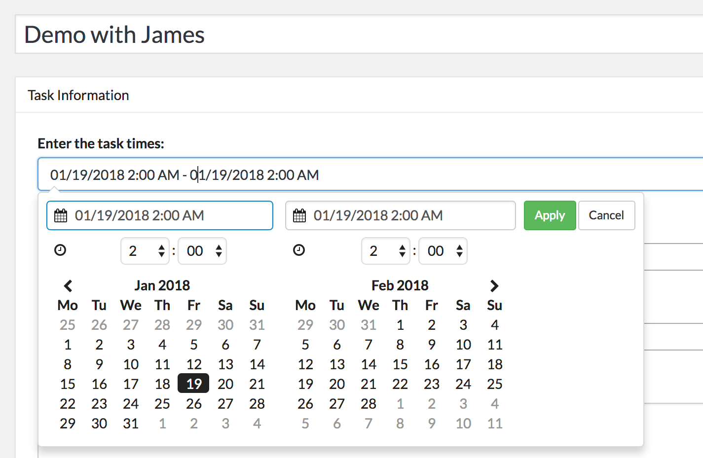Set the time of your ZBS CRM Task