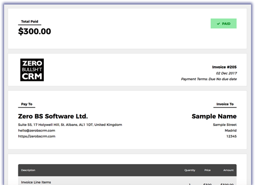Zero BS CRM Invoicing - available with PDF Invoices, Proposals and Transactions