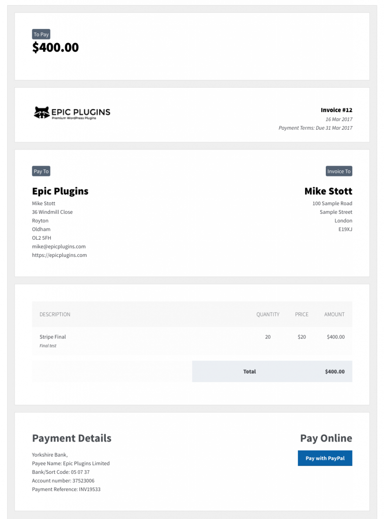 Invoicing Pro - accept card payments for freelance invoices