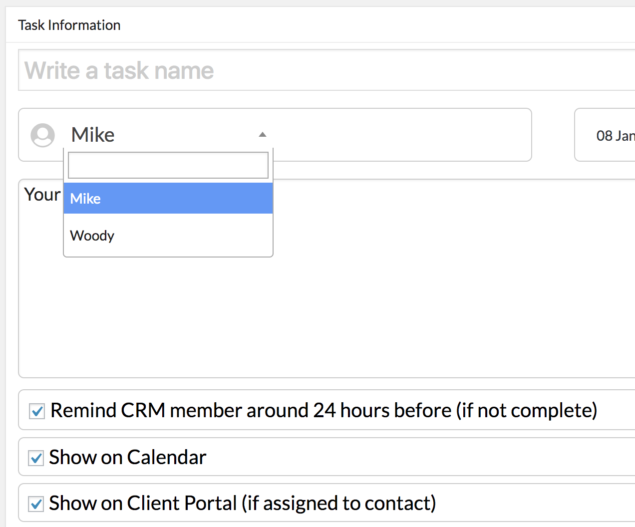 Choose which CRM Team Member to assign the task to
