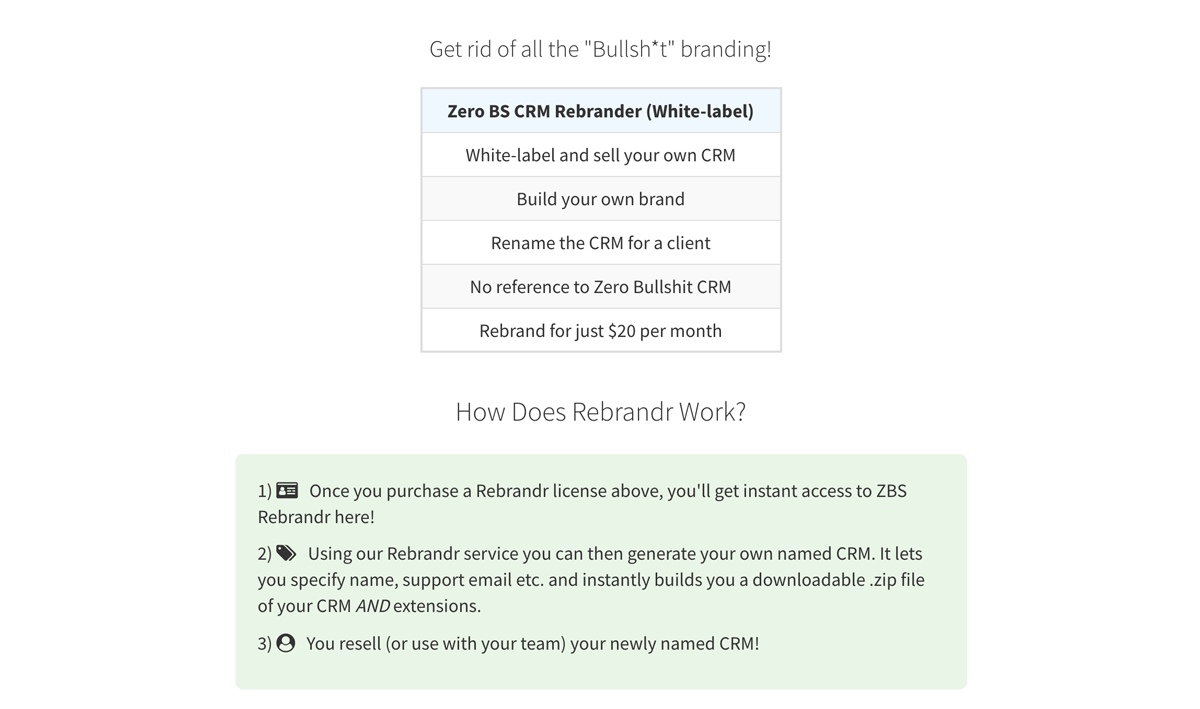 Making Money by rebranding our crm software