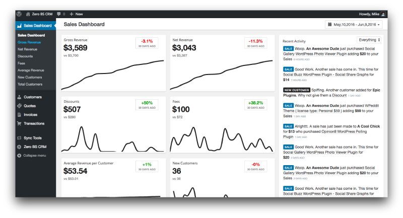 Transactions show up in CRM Dashboard, Sales Dashboard, Segments, Contact Record and more