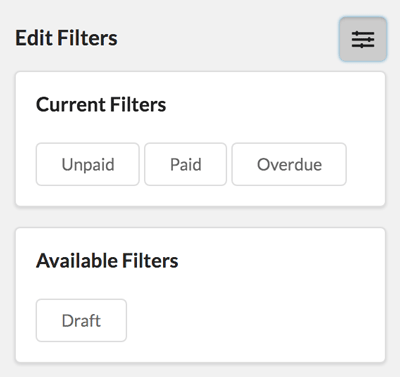 Choosing Quickfilters for Invoices in the CRM
