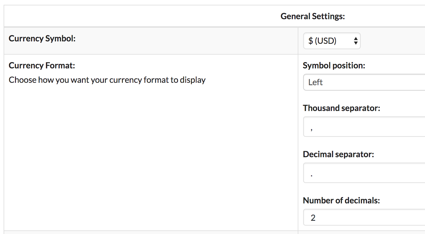 Currency Formatting