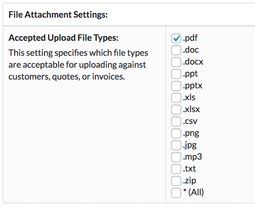 Securely attach files of any or specific file types