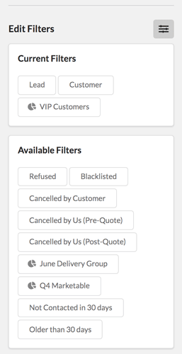 Selecting Contact Quick Filters