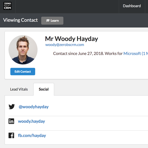 Social Profiles tab in the CRM contact view