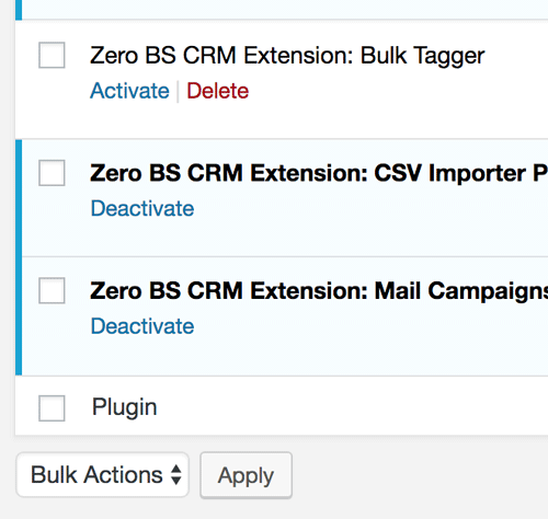 Zero BS CRM uses WordPress as it's base, making extension management easy