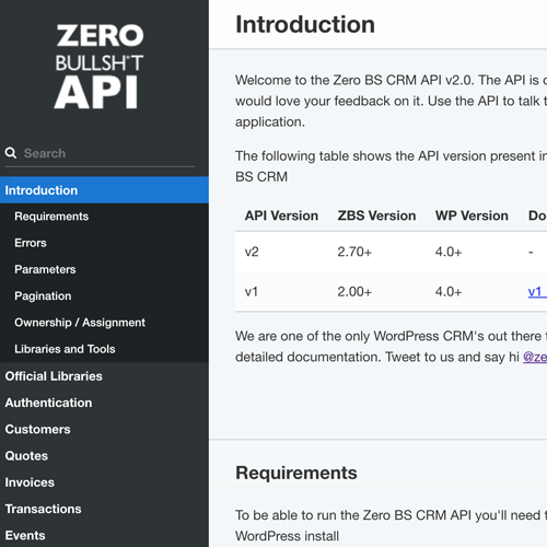 API Documentation for our WordPress CRM API